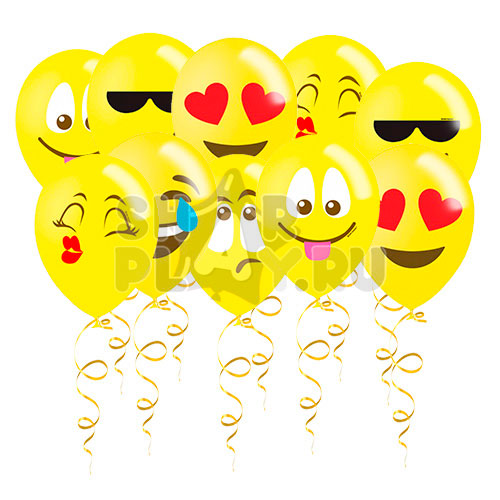 Шары под потолок Эмоции Смайлы, Желтый (30 см)