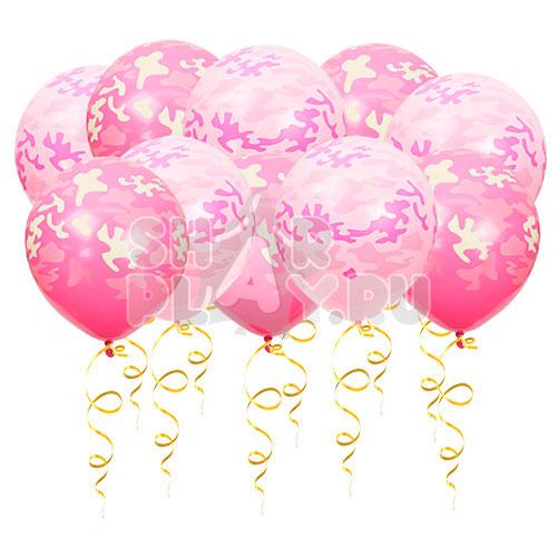 Шары под потолок Милитари, Розовый (30 см)