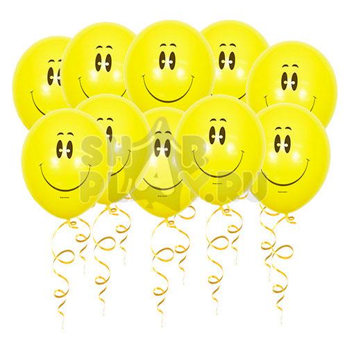 Шары под потолок Смайлик, Желтый (30 см)