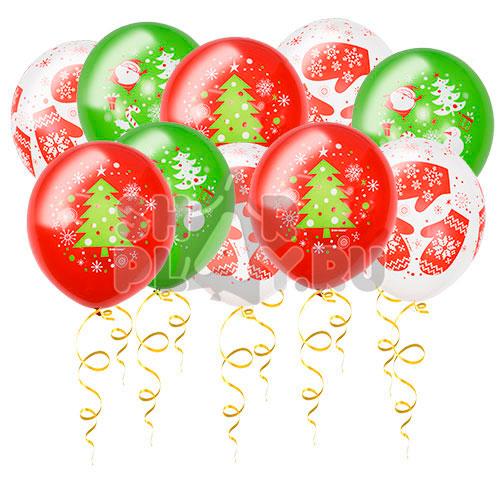 Шары под потолок С Новым Годом, Белый/Красный/Зеленый (30 см)