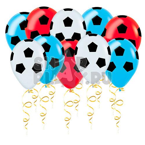 Шары под потолок Футбольный мяч, Белый/Синий/Красный (30 см)