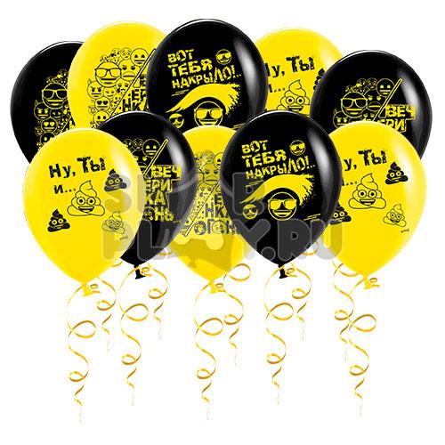 Шары под потолок Вечеринка Эмоджи, Желтый/Черный (30 см)