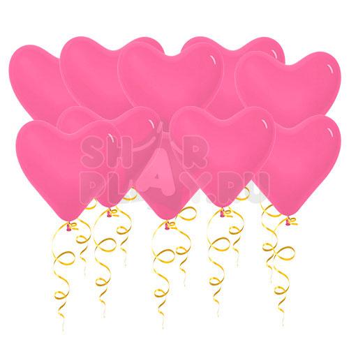 Шары под потолок Сердца, Розовый (38 см)