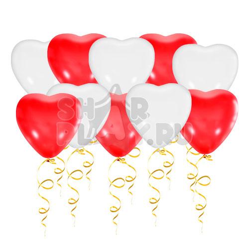 Шары под потолок Сердца, Красный/Белый (38 см)