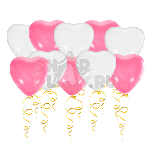 Шары под потолок Сердца, Розовый/Белый (38 см)