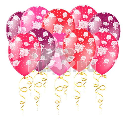 Шары под потолок Розы, Красный/Розовый/Фиолетовый (30 см)
