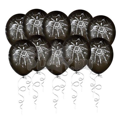 Шары под потолок Хэллоуин, Паук, Черный (30 см)