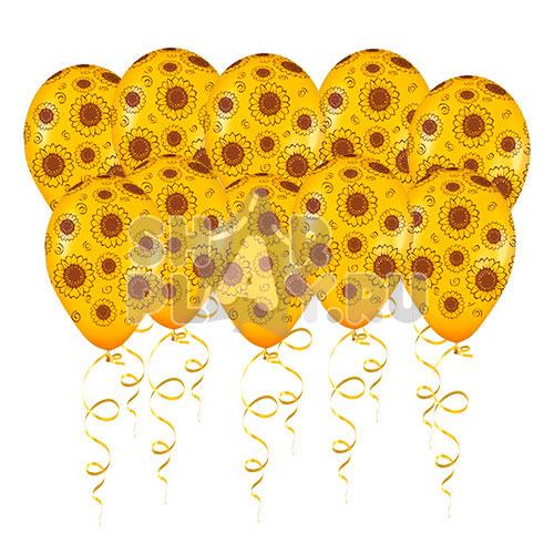 Шары под потолок Подсолнухи, Желтый (30 см)