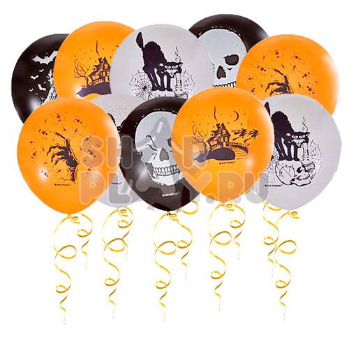 Шары под потолок Хэллоуин, Оранжевый/Черный/Белый (30 см)