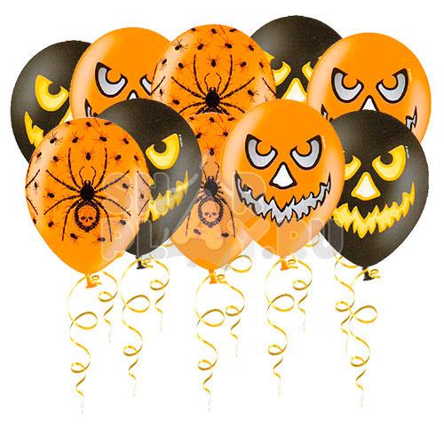 Шары под потолок Хэллоуин (тыквы, пауки), Черный/Оранжевый (30 см)