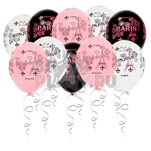 Шары под потолок День в Париже, Белый/Розовый/Черный (30 см)