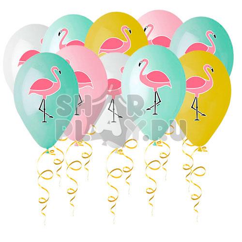 Шары под потолок Фламинго, Цветная печать (30 см)