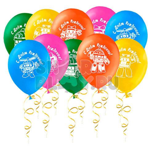 Шары под потолок Робокар Поли, С Днём рождения (30 см)