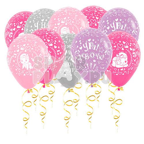 Шары под потолок У нас дочка, Розовый/Фуксия/Фиолетовый/Серебро (30 см)