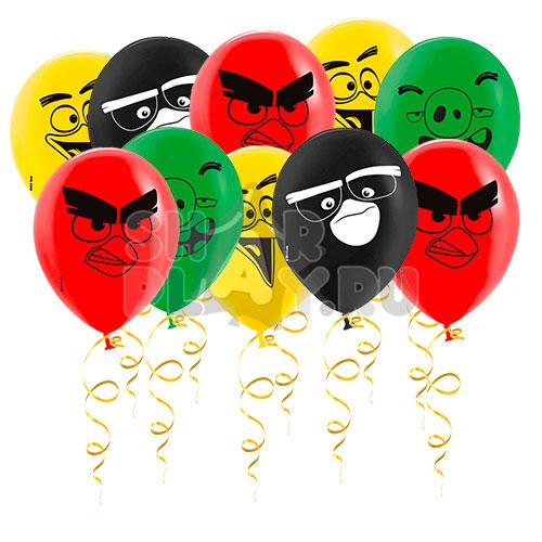Шары под потолок Angry Birds (цветная печать) (30 см)