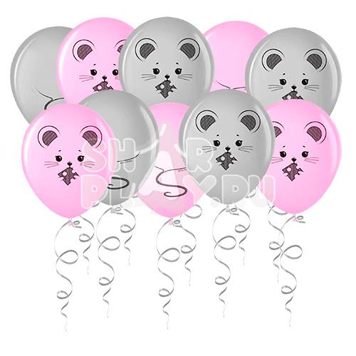Шары под потолок Мышка, Серебро/Розовый (30 см)