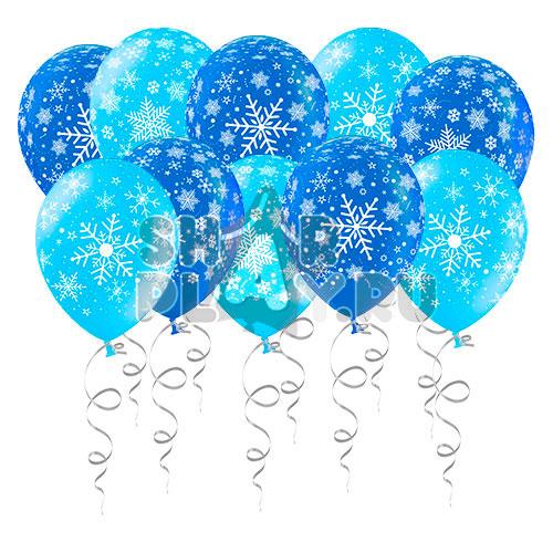 """Шары под потолок """"Снежинки"""" Синий/Голубой (30 см)"""