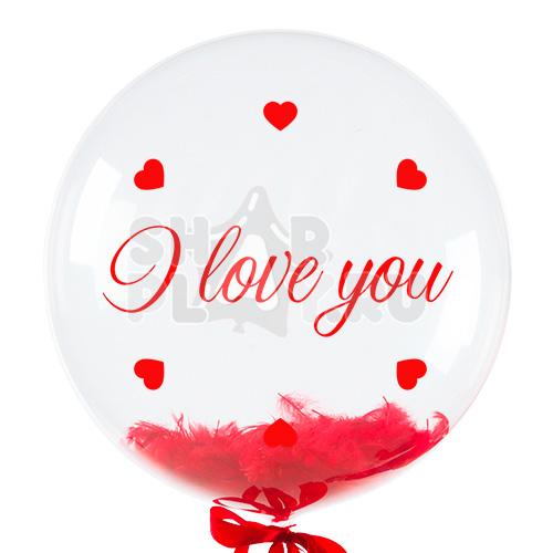 Шар бабл с перьями и надписью, Я тебя люблю, Красный (61 см)