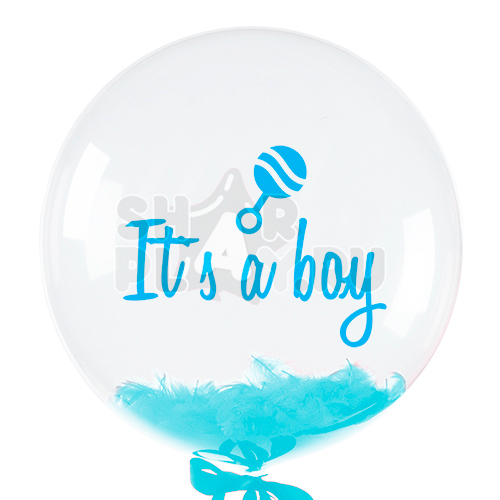 Шар бабл с перьями и надписью, Это мальчик, Голубой (61 см)