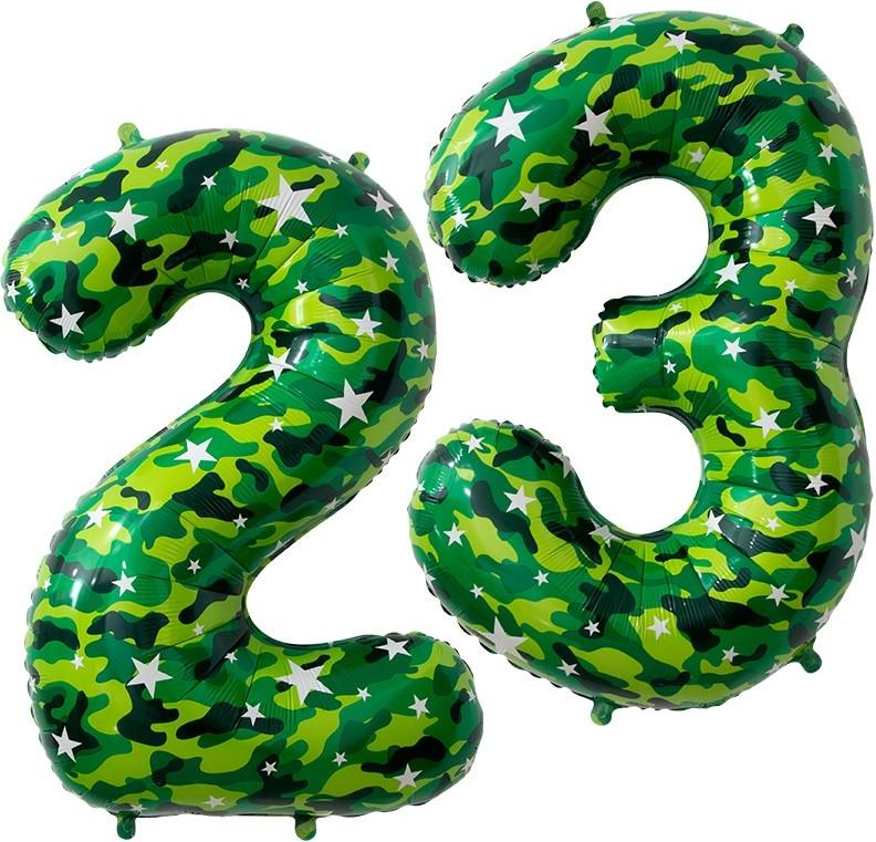 Фольгированная цифра 23 военные, хаки (86 см)