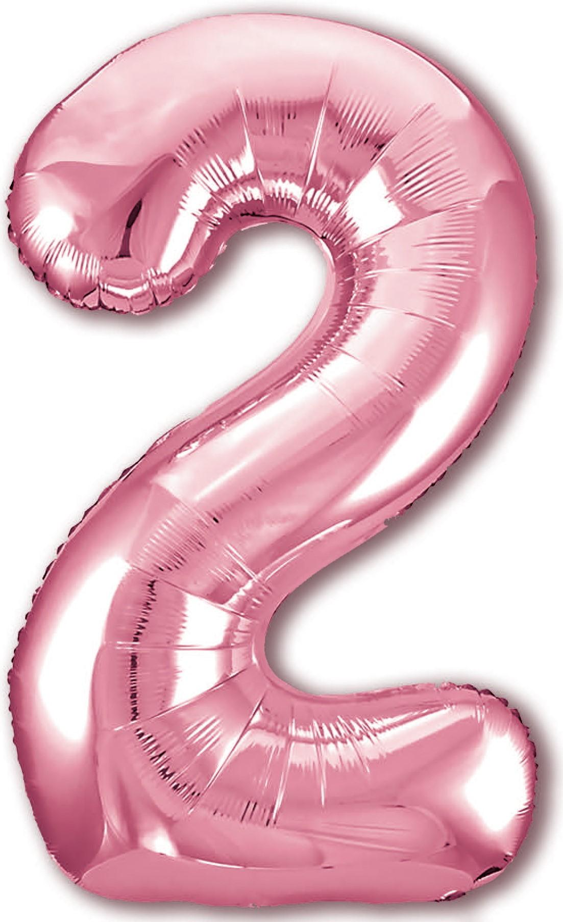Фольгированная цифра 2, Розовый (102 см)