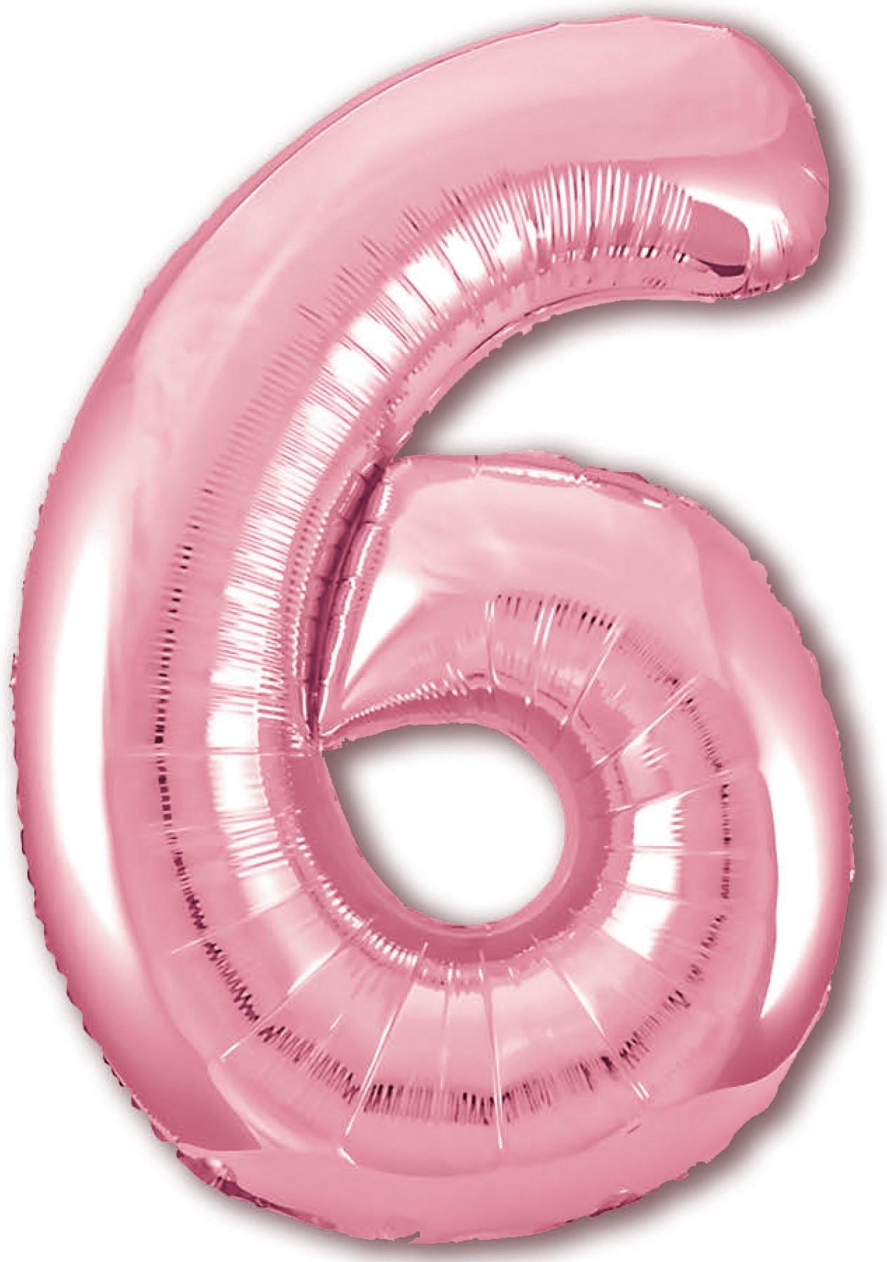Фольгированная цифра 6, Розовый (102 см)