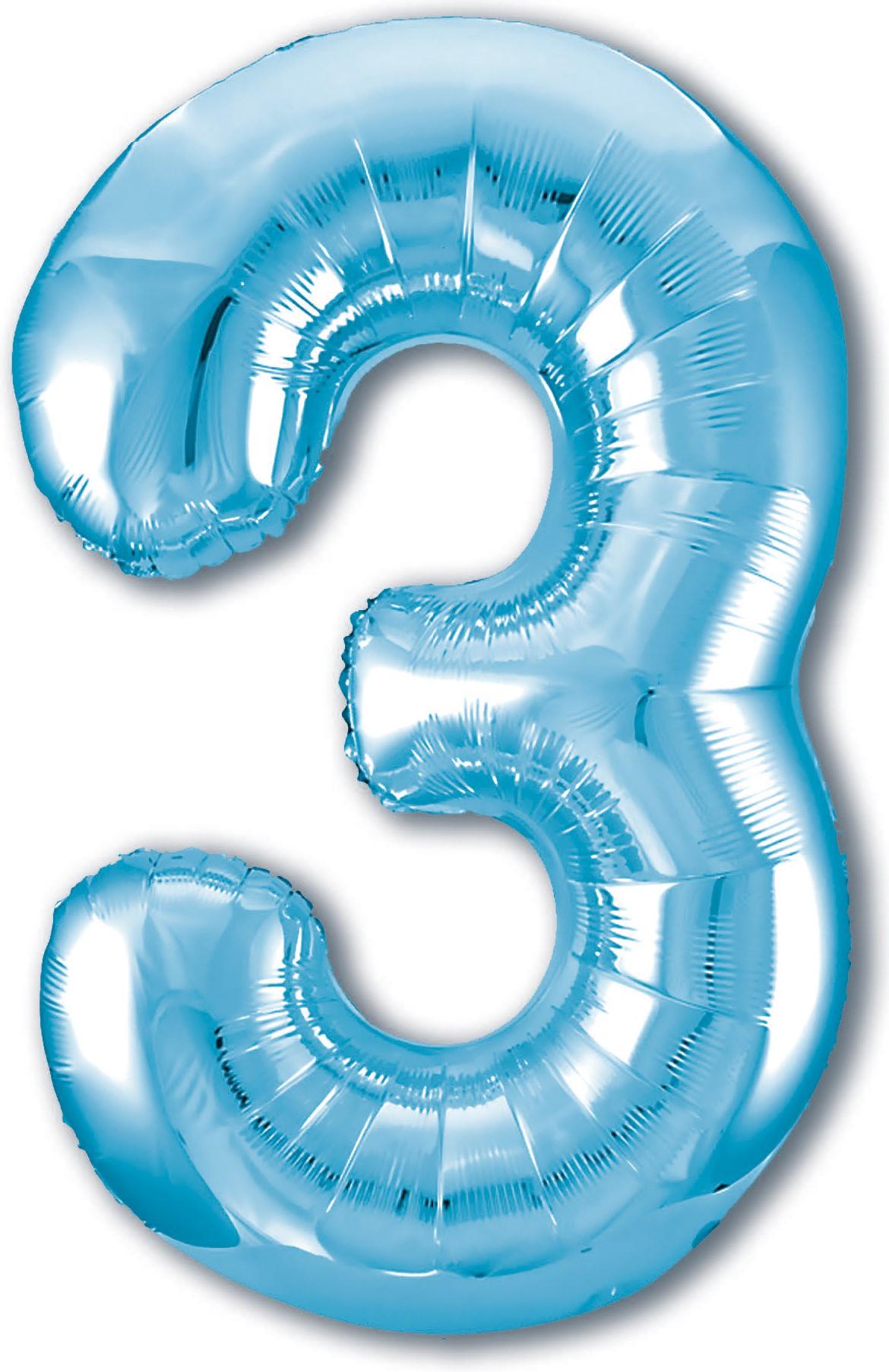Фольгированная цифра 3, Голубой (102 см)