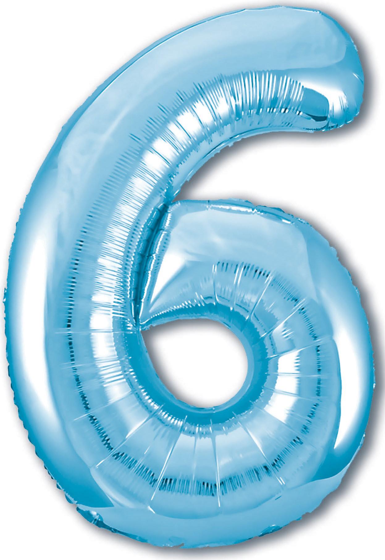 Фольгированная цифра 6, Голубой (102 см)