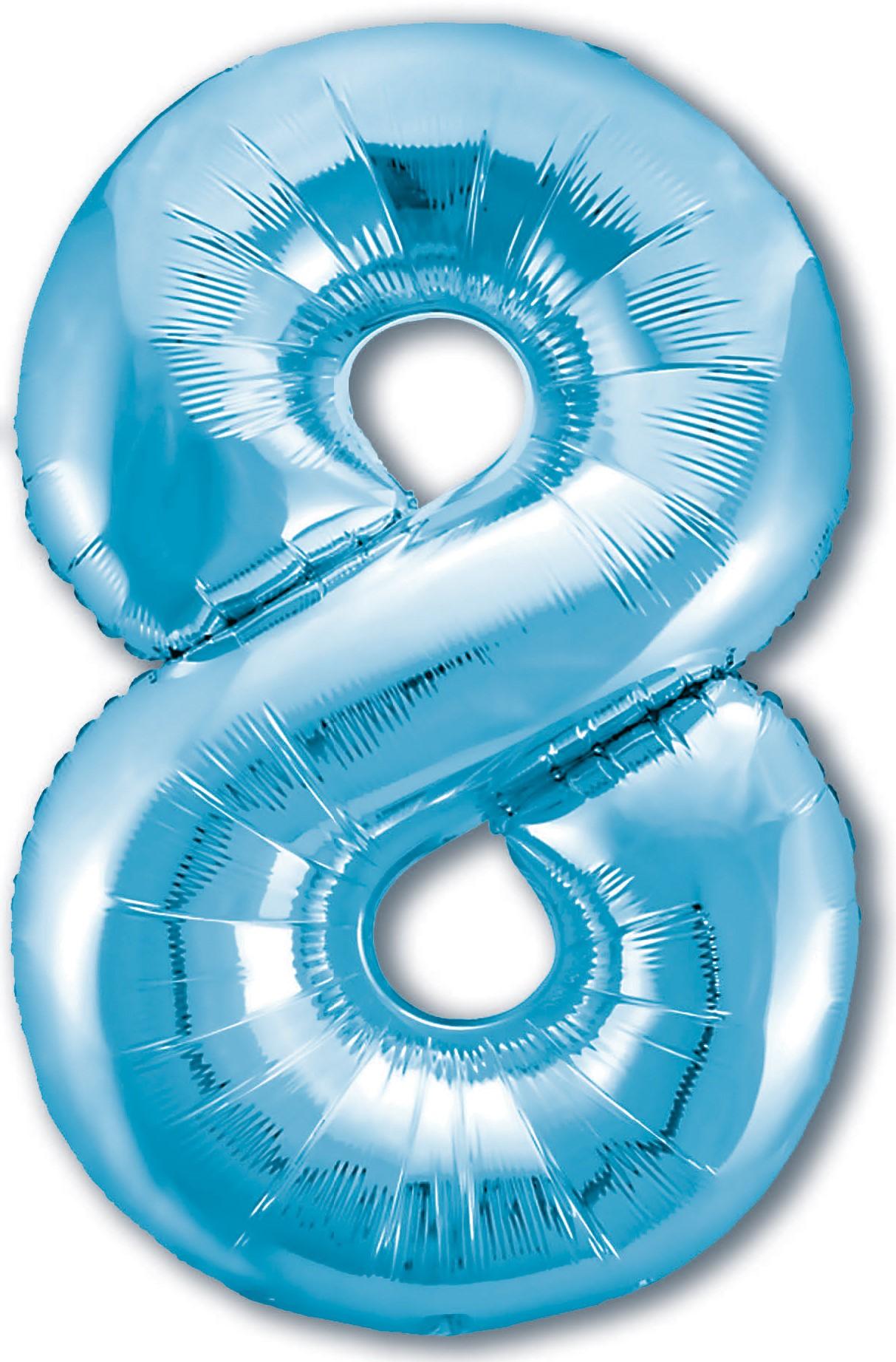 Фольгированная цифра 8, Голубой (102 см)