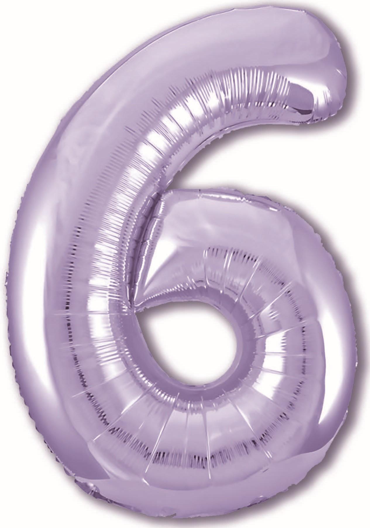 Фольгированная цифра 6, Сиреневый (102 см)