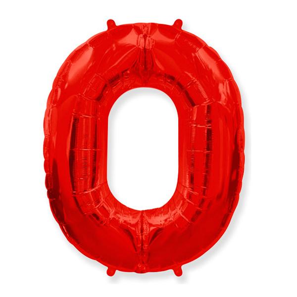 Фольгированная цифра 0 красный (102 см)