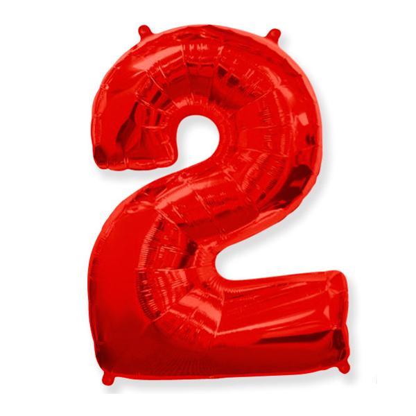 Фольгированная цифра 2 красный (102 см)