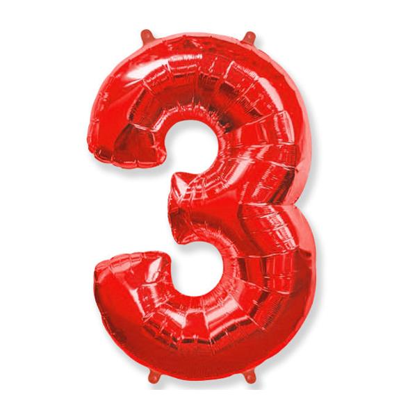 Фольгированная цифра 3 красный (102 см)