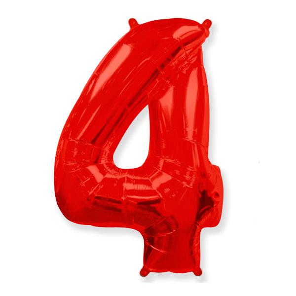 Фольгированная цифра 4 красный (102 см)