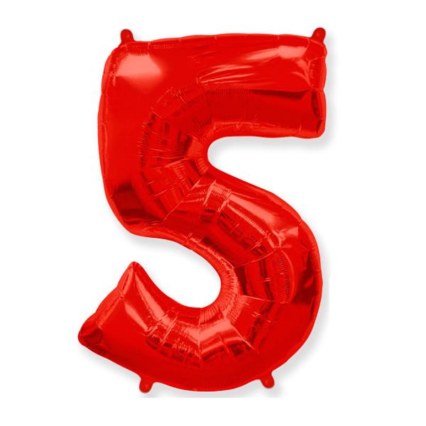 Фольгированная цифра 5 красный (102 см)