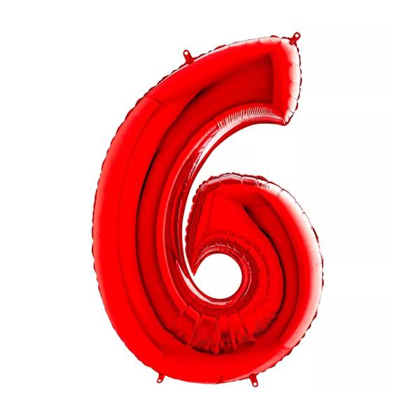 Фольгированная цифра 6 красный (102 см)