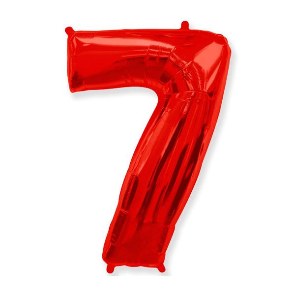 Фольгированная цифра 7 красный (102 см)