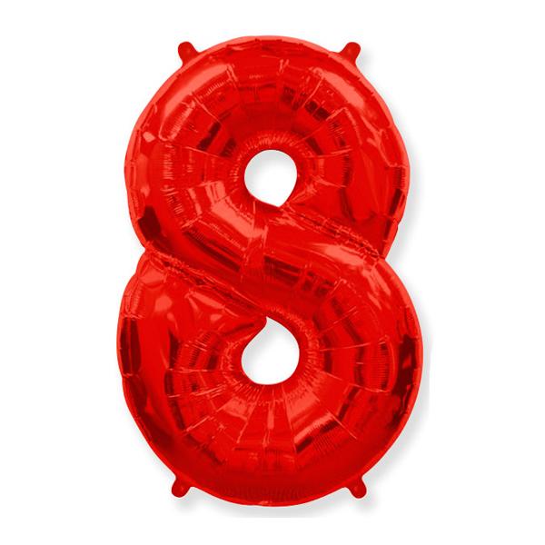 Фольгированная цифра 8 красный (102 см)
