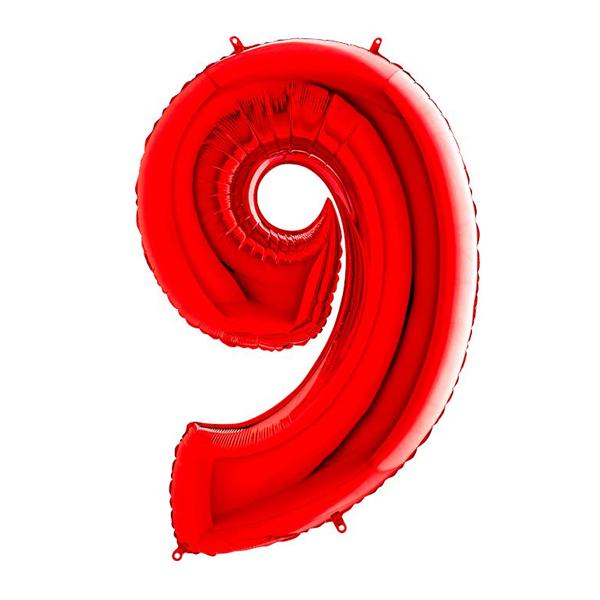 Фольгированная цифра 9 красный (102 см)