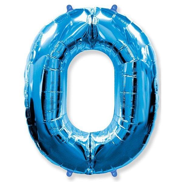 Фольгированная цифра 0 синий (102 см)