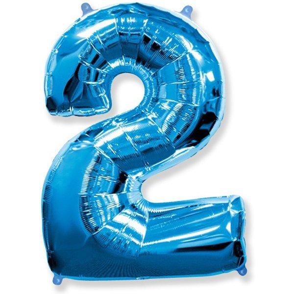 Фольгированная цифра 2 синий (102 см)