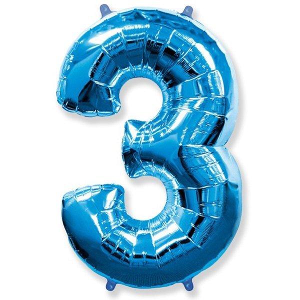 Фольгированная цифра 3 синий (102 см)
