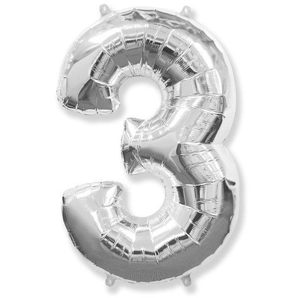 Фольгированная цифра 3 серебро (102 см)