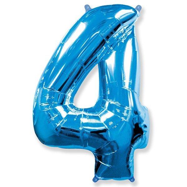 Фольгированная цифра 4 синий (102 см)