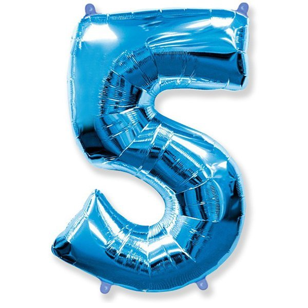 Фольгированная цифра 5 синий (102 см)