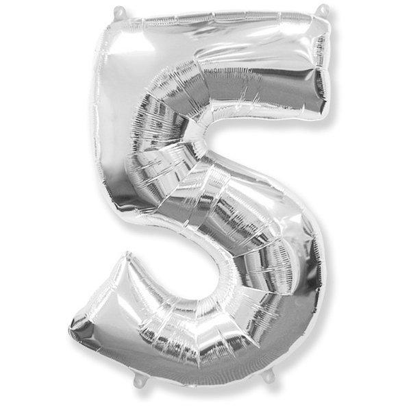 Фольгированная цифра 5 серебро (102 см)