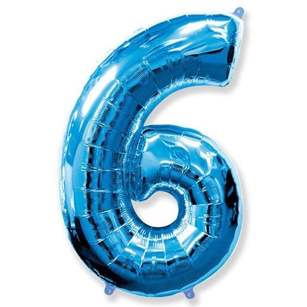 Фольгированная цифра 6 синий (102 см)