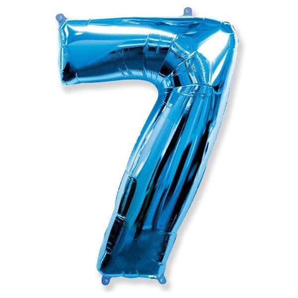 Фольгированная цифра 7 синий (102 см)