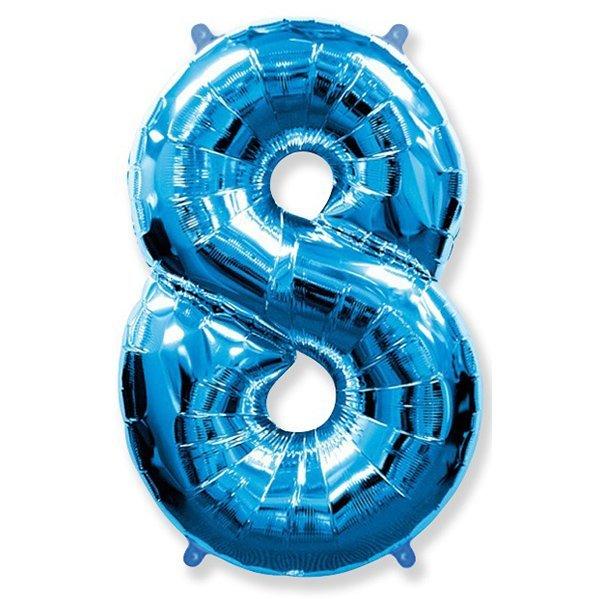 Фольгированная цифра 8 синий (102 см)