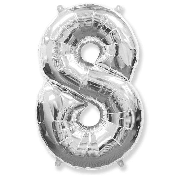 Фольгированная цифра 8 серебро (102 см)